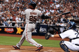 Barry Bonds swinging