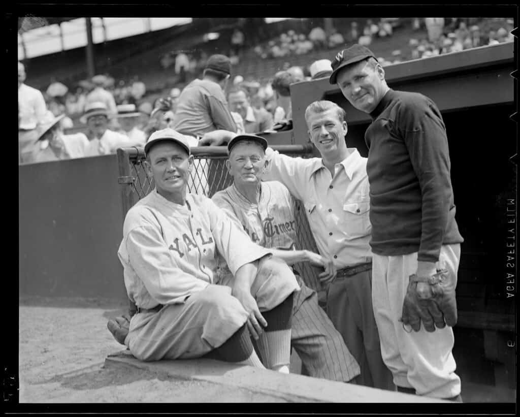 Cy Young, Lefty Grove, and Walter Johnson at an Old-Timer's game