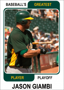 Jason-Giambi-Card Baseballs Greatest Player Playoff