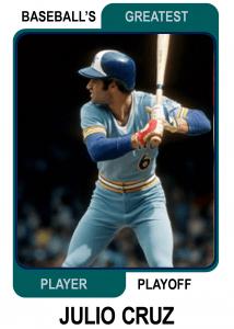 Julio-Cruz-Card Baseballs Greatest Player Playoff
