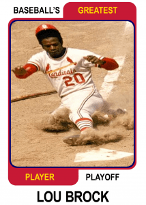 Lou-Brock-Card Baseballs Greatest Player Playoff