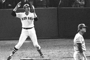 Carlton Fisk waving fair Baseballs Greatest Player Playoff