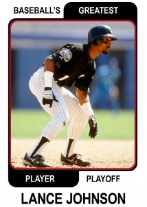 Lance-Johnson-Card Baseballs Greatest Player Playoff Card