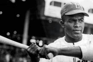 Jackie Robinson with bat